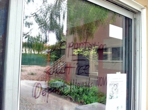 Graffiti message on UCSB's El Centro building