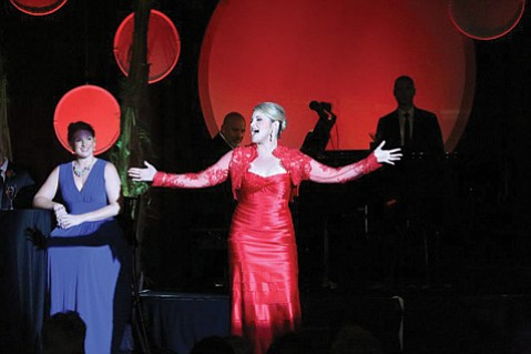 "<b>BELL OF THE BALL:</b>  Soprano Julie Adams (center) sang the Frank Loesser song ""If I Were a Bell"" from the musical <i>Guys and Dolls</i> as part of the Music Academy's annual Cabaret gala."