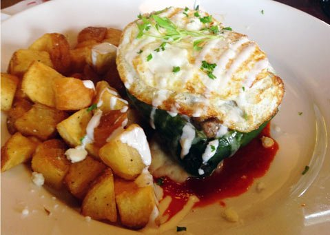 Cowboy Steak Hash Chile Relleno