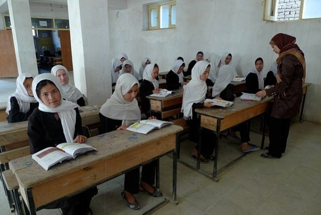 Students in one of AAE's classrooms in Afghanistan.