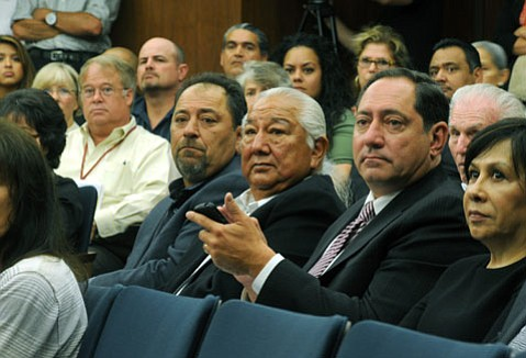 <b>NO TALK FOR YOU:</b>  More than two years ago, the Chumash tribe's administration ​— ​including (from left) Vincent Armenta, Richard Gomez, Sam Cohen, and Frances Snyder ​— ​requested a government-to-government dialogue with the county over Camp 4 and others issues. On Tuesday, the Board of Supervisors officially rejected that request, telling them to take their development ideas to the planning department like everyone else.