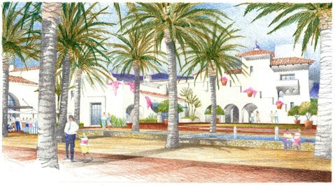 <b>DIG IN:</b>  The Historic Landmarks Commission was uncharac­teristically effusive about new plans for the Entrada hotel project slated for the bottom of State Street. Shown here is a rendering of the project's public plaza.