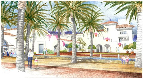 <b>DIG IN:</b>  The Historic Landmarks Commission was uncharacteristically effusive about new plans for the Entrada hotel project slated for the bottom of State Street. Shown here is a rendering of the project's public plaza.