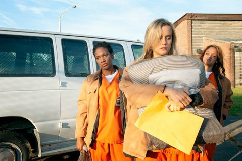 Vicky Jeudy (left), Taylor Schilling, and Dascha Polanco star in <em>Orange is the New Black</em>.