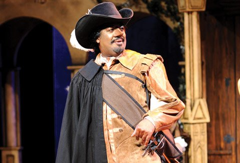 <b>NOSING AROUND:</b>  Derrick Lee Weeden stars as Cyrano alongside in PCPA's production of <i>Cyrano de Bergerac</i>.