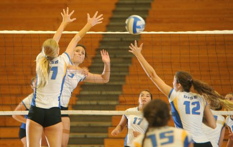 <b>TEAM CHEMISTRY:</b> The Gauchos hone their skills during a practice scrimmage, getting into top form for their game against last year's Pac-12 champions, Stanford, Friday, August 30, at UCSB.