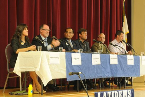 <b>REVVING ENGINES:</b>  Though the City Council election is more than two months away, candidates (from left: Megan Diaz Alley, Gregg Hart, Cruzito Cruz, Mathew Kramer, David Landecker, and Jason Nelson) are already jockeying for position by weighing in on a host of hot-button issues.
