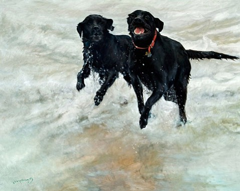 """""""Labs in the Surf"""" 48 x 54"""" oil/linen"""