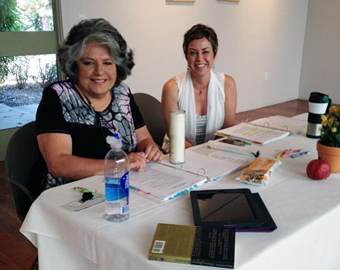 <b>WRITING GUIDES:</b>  In their workshops, Dara Marks (left) and Deb Norton help writers examine their stories through the frame of ancient mythology.