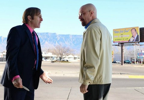 Saul Goodman (Bob Odenkirk) and Walt (Bryan Cranston) exchange words during Sunday's episode of <em>Breaking Bad</em>.