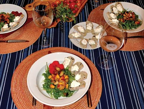 Summer's bounty shines in the first course of Simon's Make Me Dinner menu.