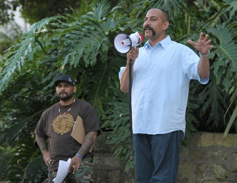 An anti-police brutality rally held at the Santa Barbara Courthouse following the shooting death of Brian Tacadena