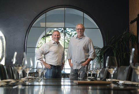 <b>PERFECT PAIRING:</b> Current Wine Cask co-owners (from right) Doug Margerum and Mitchell Sjerven mark three decades of awesome food and wine at a true Santa Barbara institution.