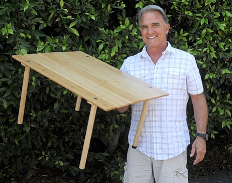 <b>TAGALONG TABLE: </b> Bill Bolton's handcrafted porTABLE is a perfect accessory for a day at the beach or a picnic in the park.