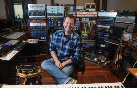 <b>WHAT GOES AROUND:</b> Composer Chris Tyng sits behind the keys in his Star Hill Studio in Santa Ynez.