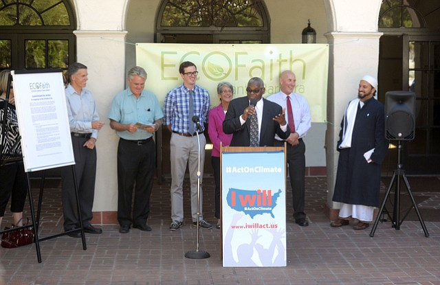 Santa Barbara religious leaders, joined by area politicians, talked about the intersection between faith and environmental activism. From left to right: John Reed, Holy Cross Church; Mark Hamilton, Unitarian Society; Chris Meagher, press secretary for Rep. Lois Capps; State Senator Hannah-Beth Jackson; Reverend Wallace Shepherd, Second Baptist Church; Dr. Ivor John, chair of ECOFaith; and Imam Yama Niazi, Islamic Society.