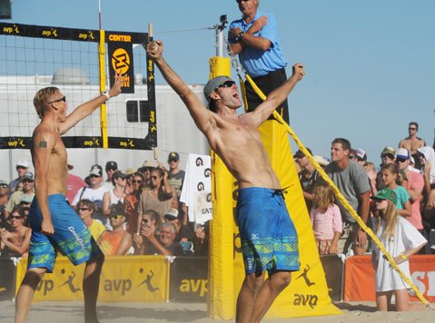 <b>BEACH GODS:</b> Olympian Jake Gibb (right) and his flamboyant partner, Casey Patterson, knocked out some fierce competition to win the AVP men's finals at West Beach last Sunday.