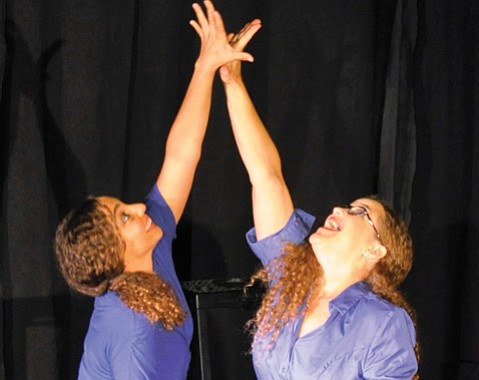 <b>UP, UP, UP:</b> Natascha Skerczak (left) and Michelle A. Osborne star in Defying Gravity.