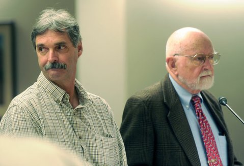 Former County Fire Department employee Robert Joseph Perez, (left) with attorney Steve Balash, pleads not guilty to embezzlement charges (Oct. 1, 2013)