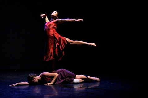 <b>THE FALL:</b>  Meghan Morelli appears in Nebula Dance Lab's latest work, Floodlit & Fallen.