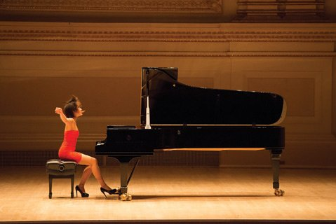 <b>PIANO WOMAN:</b>  Yuja Wang makes her third trip to Santa Barbara this week for a recital at UCSB's Campbell Hall.