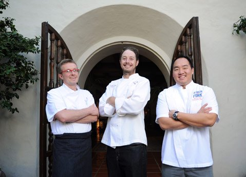 <b>THREE'S COMPANY:</b> Chefs (from left) Alessandro Cartumini (Bella Vista), Brandon Hughes (Wine Cask), and James Siao (Finch & Fork) are cooking up three times the deliciousness this month.