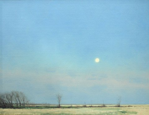 "NOW AND THEN:  Ben Bauer's ""Spring Moonrise in South Dakota"" appears in <em>Tonalism Now</em>, one of two tonalism-themed shows on view now at Sullivan Goss - An American Gallery."