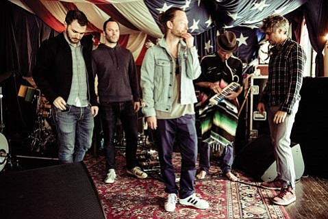 <b>SUPERGROUP SUPERPOWER: </b> Atoms for Peace is (from left) Joey Waronker, Nigel Godrich, Thom Yorke, Flea, and Mauro Refosco. The band plays the Santa Barbara Bowl on October 17.