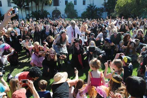 <b>THE WALKING DEAD: </b> Thrill the World dancers filled the Santa Barbara Courthouse Sunken Gardens in 2012. Watch them do it again this Saturday.