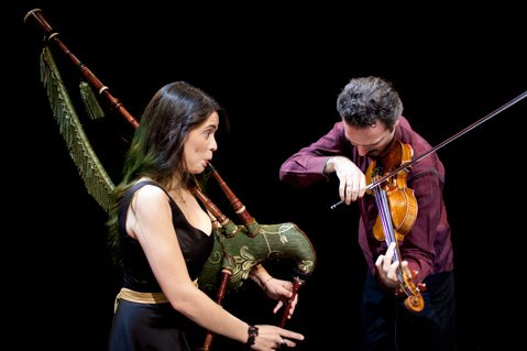 <b>NEW STEPS:</b>  Silk Road's Cristina Pato plays the gaita, and Colin Jacobsen joins on violin.