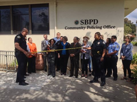 <b>OPEN SESAME:</b>  Mayor Helene Schneider officially opens the SBPD's first drop-in center.