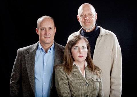 <b>THE SON-IN-LAW:</b>  Brian Harwell (left) plays Jack, who is married to Judy (Jenna Scanlon), the daughter of Howard (Tom Hinshaw), in Wallace Shawn's play about strained family values.