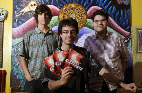 <b>FRESH WAX:</b>  Dante Elephante's Kevin Boutin (left) and Ruben Zarate (right) pose with KCSB General Manager Kyle Trager. The band's new single comes out on KCSB's Bank Burner Records label this weekend.