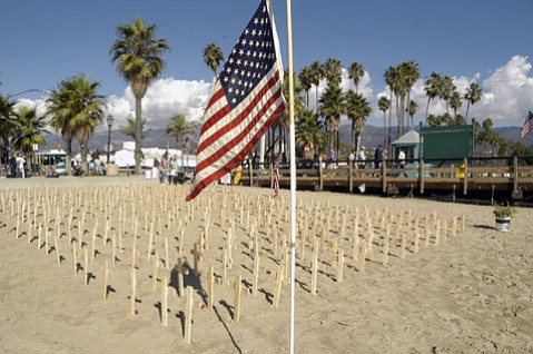 Veterans For Peace first installation of Arlington West, a display of 360 wooden crosses to symbolize the number to date of U.S. soldiers killed in the Iraq war. (Nov. 2, 2003)