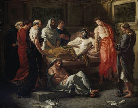 """<b>DOWNHILL FROM HERE:</b> In """"The Last Words of Marcus Aurelius,"""" Eugène Delacroix used a famously dark moment in Roman history to comment on the perilous state of affairs in France after the death of Napoleon Bonaparte."""