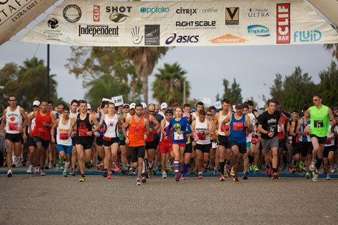 RUNNER'S HIGH: Hundreds of folks hit the ground runningfor the fifth annual S.B. International Marathon and Half Marathon. The 26-mile route begins in Goleta and ends in Santa Barbara.