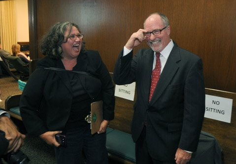 <b>SO HAPPY TOGETHER:</b>  City Councilmember Cathy Murillo and election winner Gregg Hart shared a moment last week.