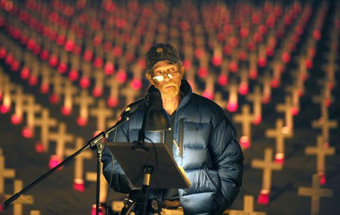 Arlington West founder Stephen Sherrill speaks during the 10th anniversary and final installation of the crosses (Nov. 10, 2013).