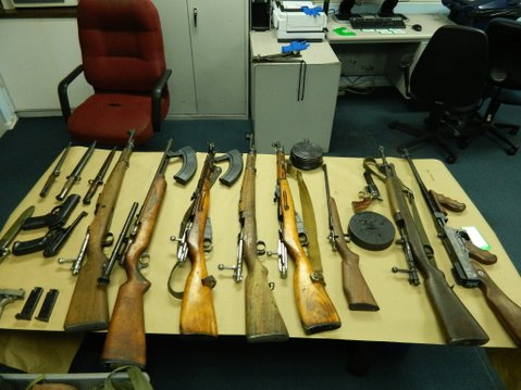 Guns seized as evidence