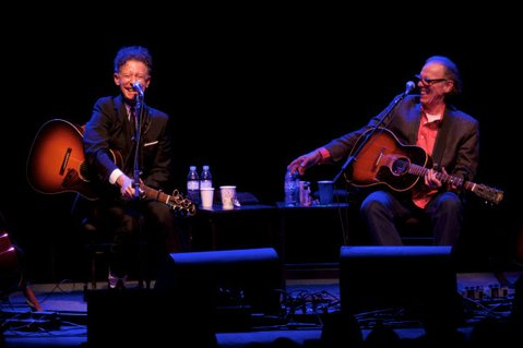 BETTER TOGETHER: Lyle Lovett and Jon Hiatt onstage at UCSB's Campbell Hall. The two joined forces for a night of country on Tuesday, November 12.