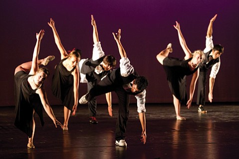 <b>FALL FORWARD:</b>  Students and faculty team up for Westmont's fall dance concert.