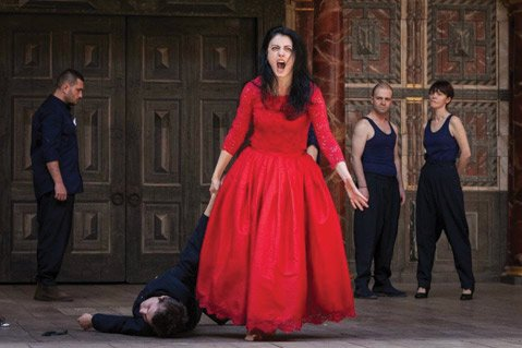 <b>WOMAN WARRIOR:</b>  Gabriela Petrushevska as Queen Margaret in the National Theatre of Bitola, Macedonia's Henry VI, Part 3.