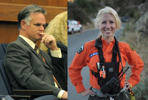 Former Undersheriff Jim Peterson (left) is facing serious allegations of sexual harassment, retaliation, and defamation from former Search and Rescue spokesperson Valerie Walston