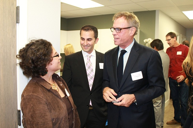 Mayor Helene Schneider speaks with Dr. Ghadir (left) and Dr. Surrey