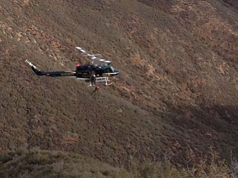 Copter 3 performs a hoist rescue from a deep canyon overlooking Cuyama Valley