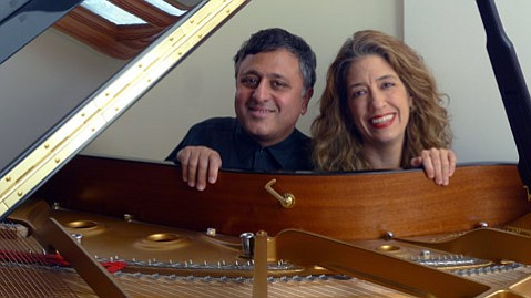 <b>BETTER TOGETHER:</b>  Hubby and wife Gavin and Joanne Pearce Martin team up on the piano for Franz Shubert's Fantasieon December 5 at the Music Academy of the West.
