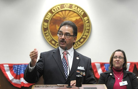 <b>GETTING IN CHARACTER:</b>  City Hall's assistant city administrator Marcelo López sported an election-night stars-and-stripes necktie.