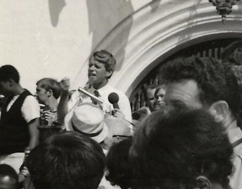 <b>KENNEDY AT THE COURTHOUSE:</b>  During the heated battle for California in the 1968 Democratic primary, Robert Kennedy spoke at Santa Barbara's courthouse, a week before he was killed.