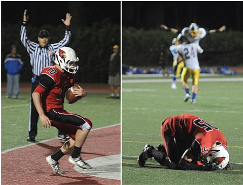 <b>THE AGONY AND THE ECSTASY:</b> A 27-yard touchdown run by Aidan Williams (left) gave Bishop Diego a 21-16 lead over Nordhoff late in the third quarter. Bishop Diego's Thomas Lash (right) knelt on the turf as Nordhoff players leapt in celebration of their 24-21 victory.