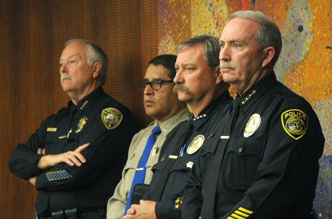 <b>FULL-COURT PRESS:</b>  Several law-enforcement officers ​— ​including (from right) Santa Maria Police Chief Ralph Martin, Hancock College Public Safety Director Wesley Maroney, California Highway Patrol Santa Maria office commander Lt. Alex Carrillo, and Guadalupe Police Chief Gary Hoving ​— ​spoke before the supes in support of a plan for the Santa Maria Branch Jail.